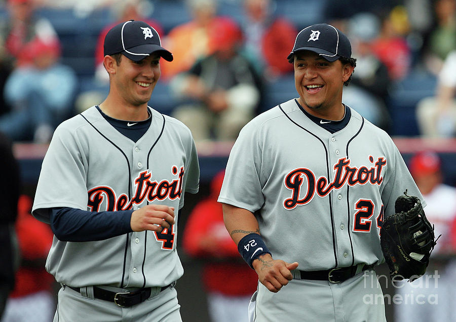 Miguel Cabrera and Rick Porcello Photograph by Doug Benc