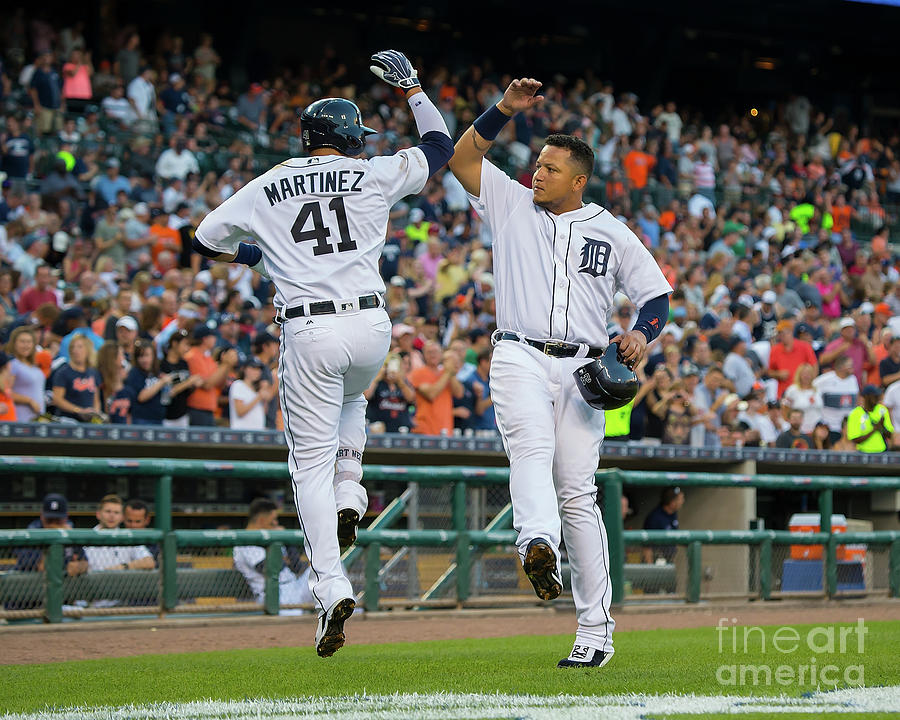 Miguel Cabrera and Victor Martinez Photograph by Dave Reginek