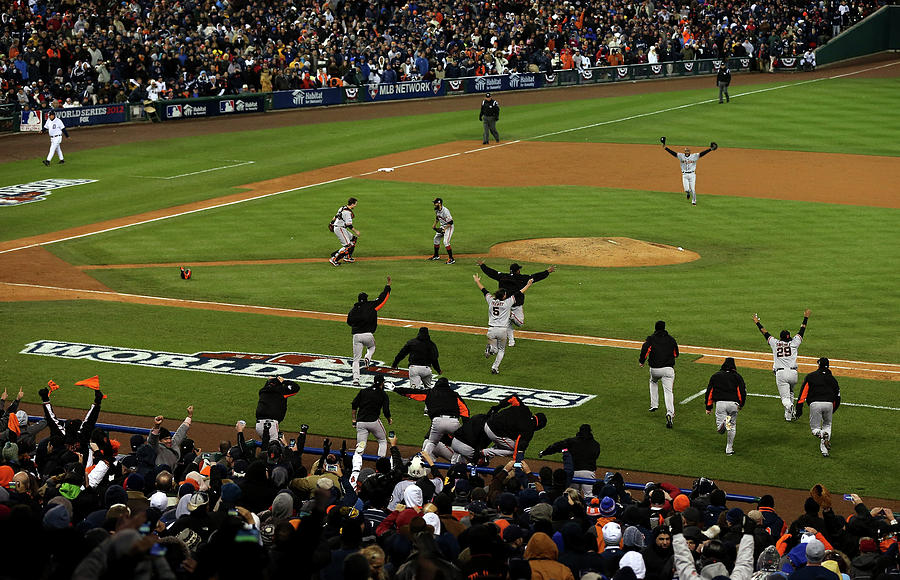 Miguel Cabrera, Sergio Romo, And Buster Posey Photograph by Jonathan Daniel