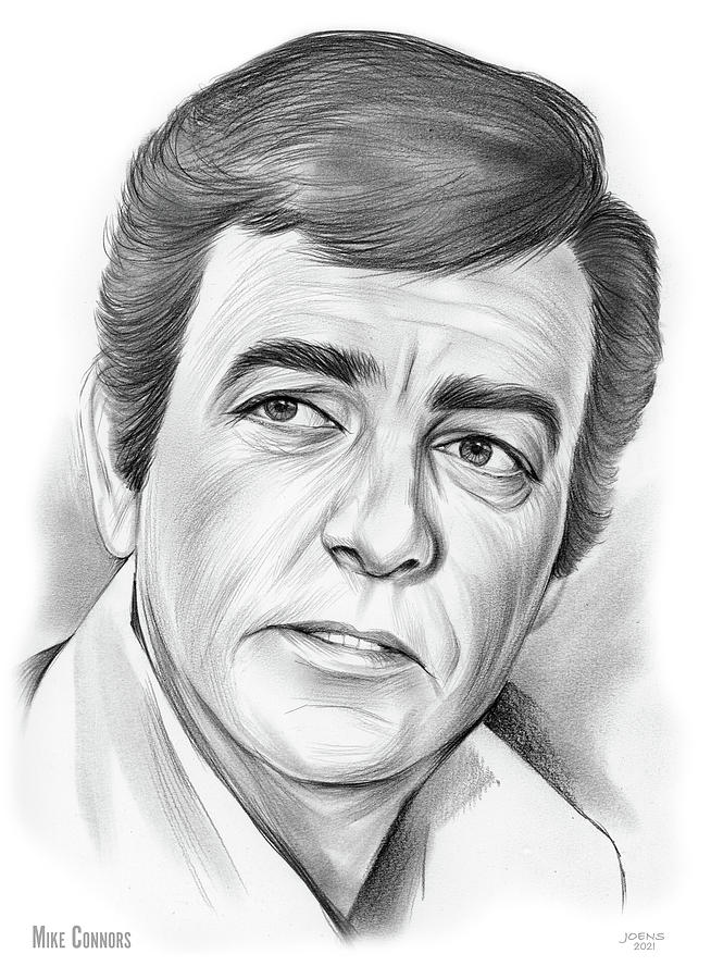 American Drawing - Mike Connors - pencil by Greg Joens