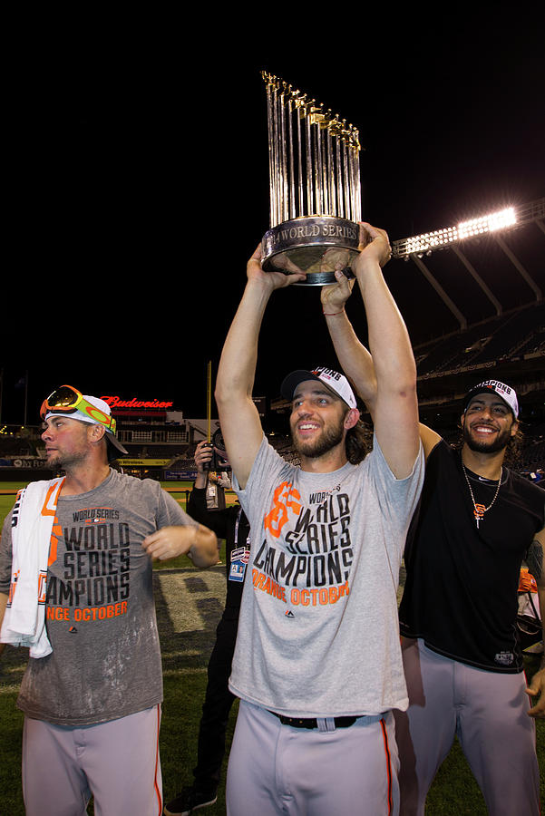 Mike Morse, Ryan Vogelsong, and Madison Bumgarner Photograph by Brad Mangin