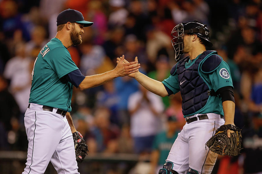 Mike Zunino And Tom Wilhelmsen Photograph by Otto Greule Jr