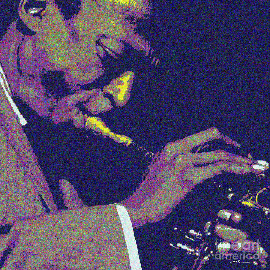 Miles Davis Painting - Miles Davis Closeup by Jack Bunds