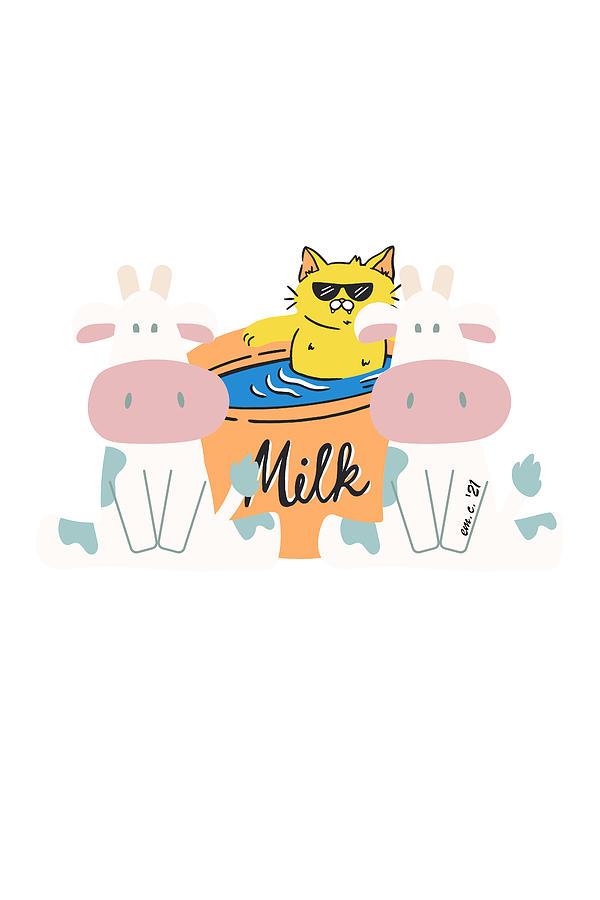 Milk Boss Cat Digital Art