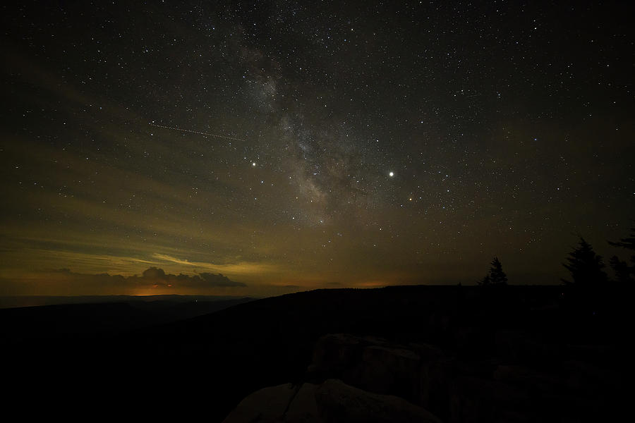 Milky Way from Dolly Sods with thunderstorms in distance by Dan Friend