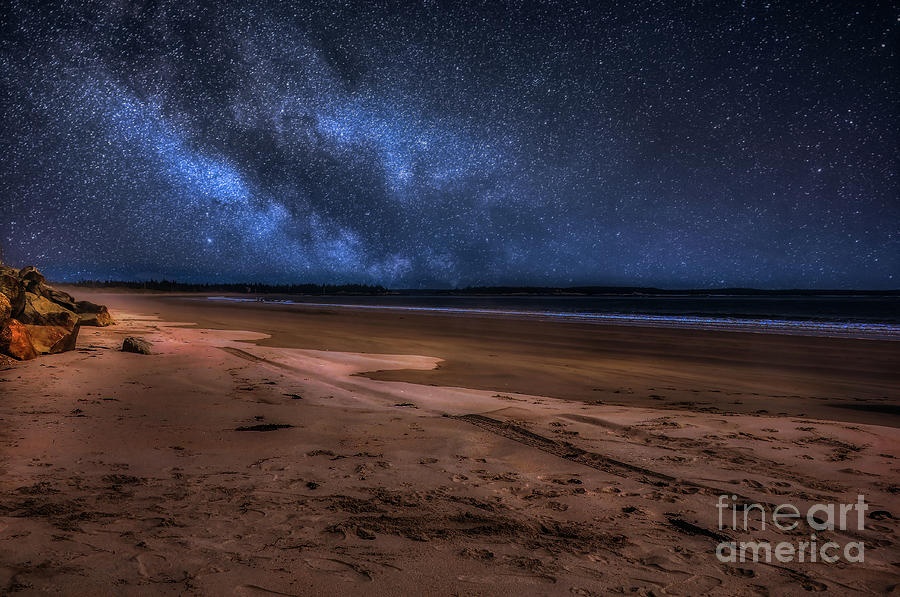 Milky Way Over Ocean Beach Photograph