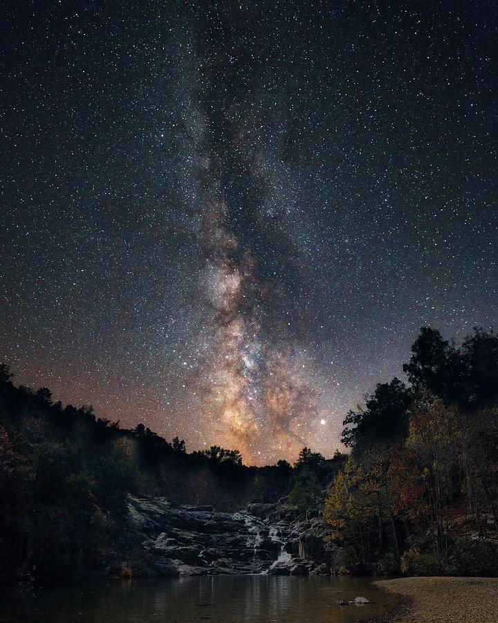 Milky Way Over Rocky Creek Falls by Harold Rau