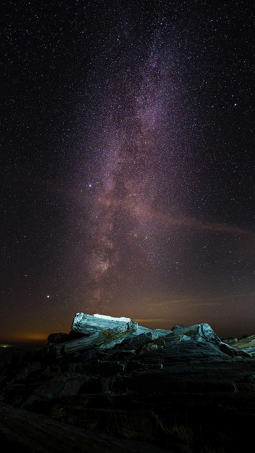 Milky Way Rise Over Jagged Rocks Photograph