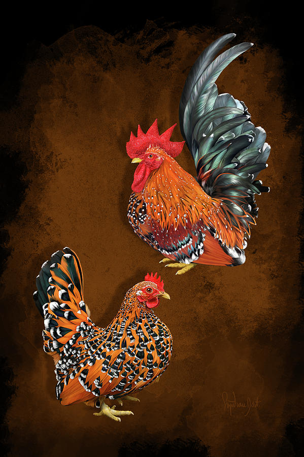 Chickens Digital Art - Mille Fleur Japanese Bantams Or Chabo by Sigrid Van Dort