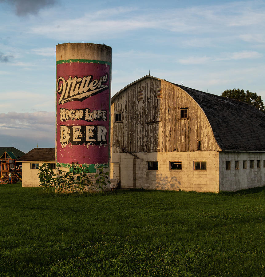 Miller High Life Photograph - Miller High Life Beer Farm Silo in Indiana by Eldon McGraw