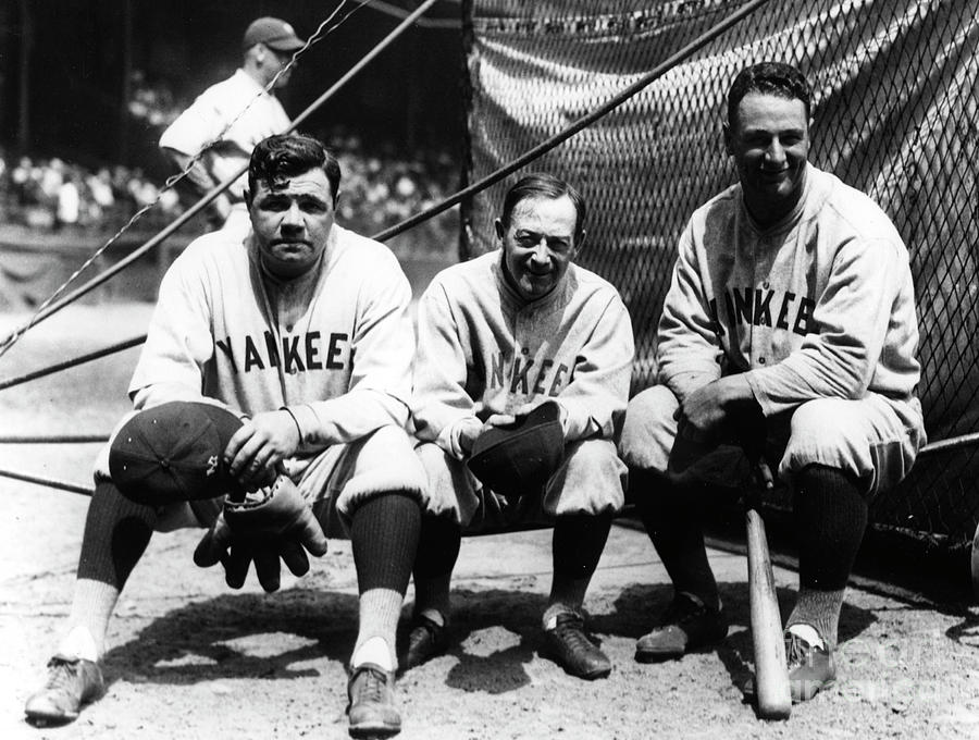 Miller Huggins, Lou Gehrig, and Babe Ruth Photograph by Transcendental Graphics