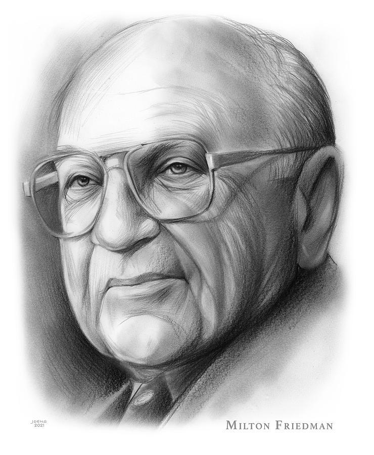 American Drawing - Milton Friedman - pencil by Greg Joens