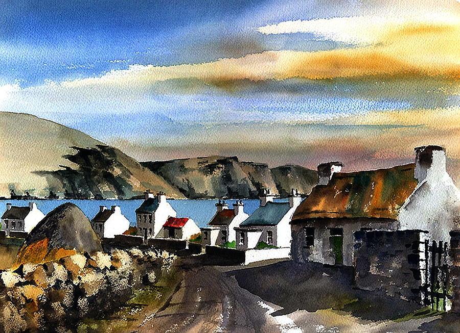 Minaun Cliffs from Keel Village, Achill. by Val Byrne