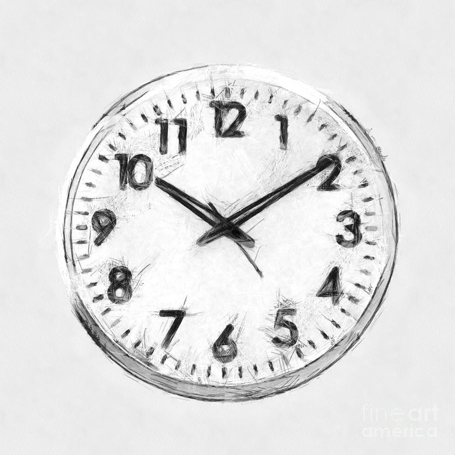 Minimal Clock Black And White Art Drawing