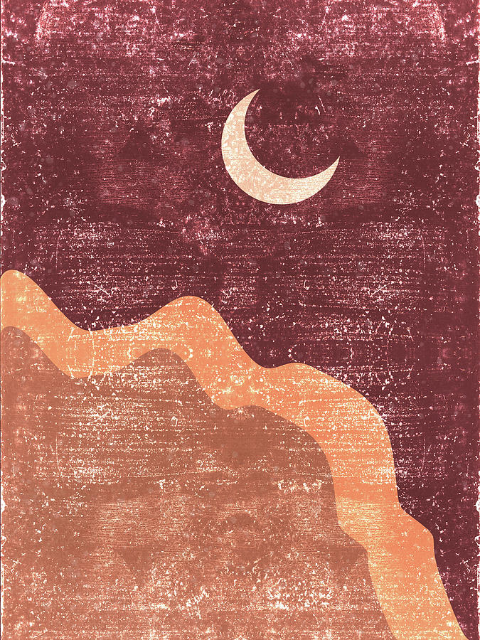 Minimal Crescent Moon Cloud - Modern, Contemporary Abstract Print - Zen, Contemplative - Brown Mixed Media
