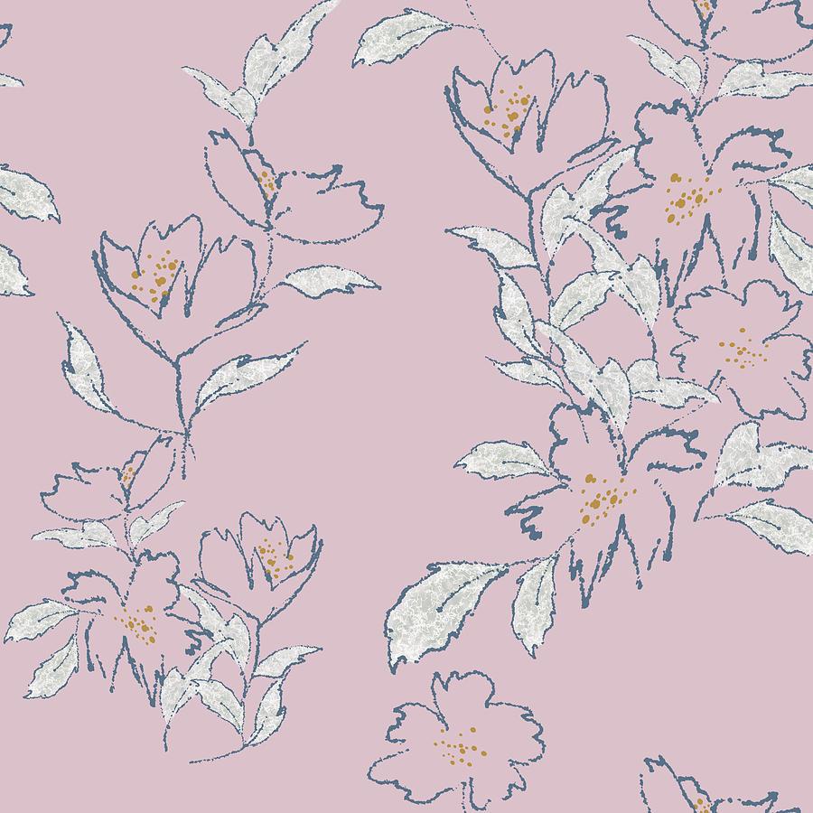 Minimal Free Flowing Floral Pink Digital Art
