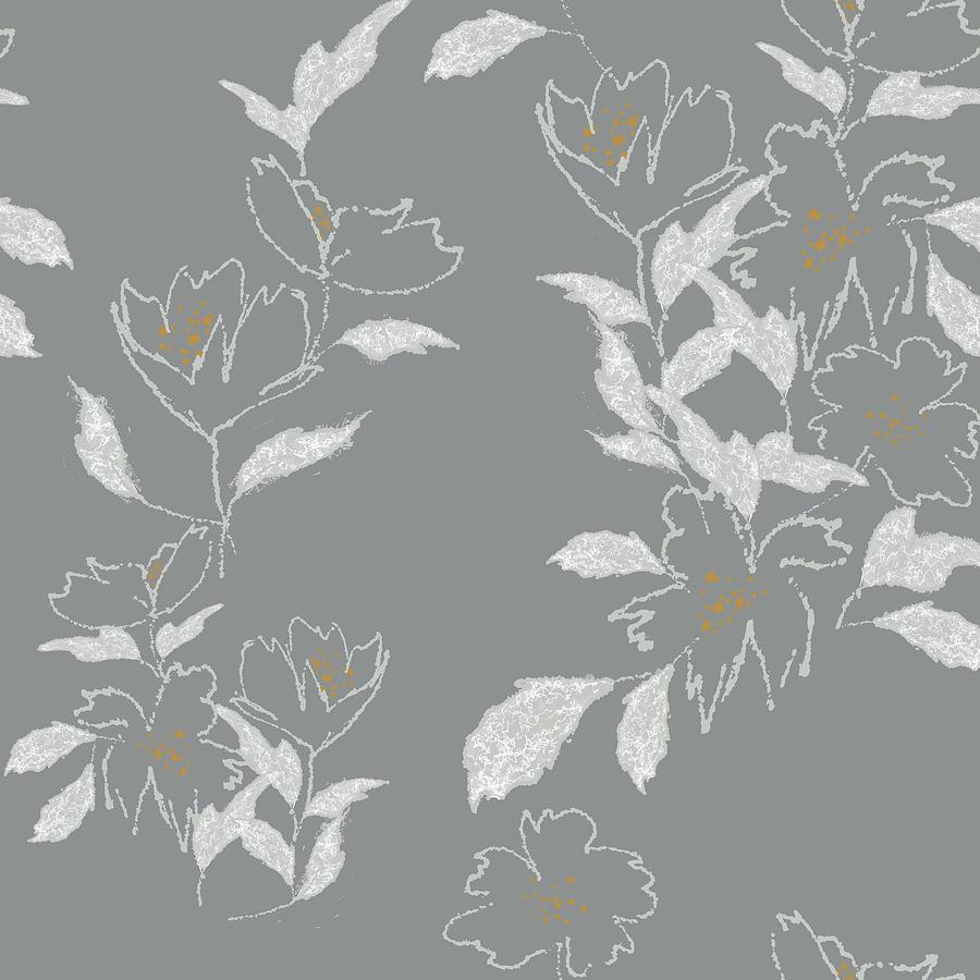 Minimal Free Flowing Gray Floral Digital Art