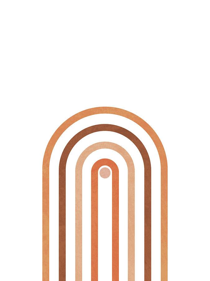 Minimal Geometric Arch 1 - Mid Century Modern - Half Circle Arch - Scandinavian - Brown, White Mixed Media
