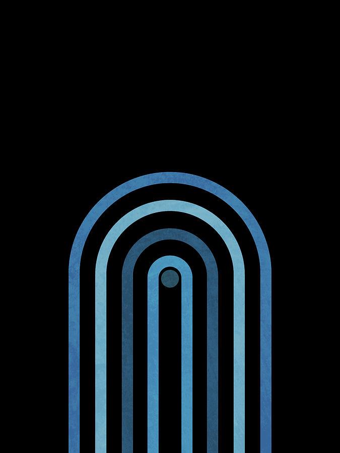 Minimal Geometric Arch 3 - Mid Century Modern - Half Circle Arch - Scandinavian - Blue, Black Mixed Media