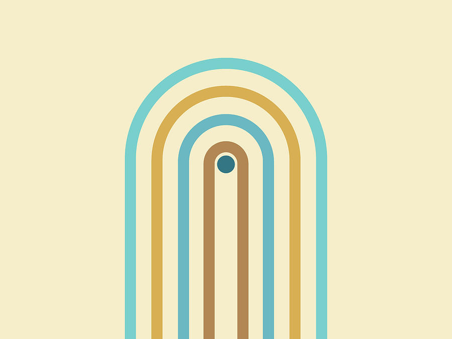 Minimal Geometric Arch Diptych 1 - Mid Century Modern - Half Circle Arch - Scandinavian - Coastal Mixed Media