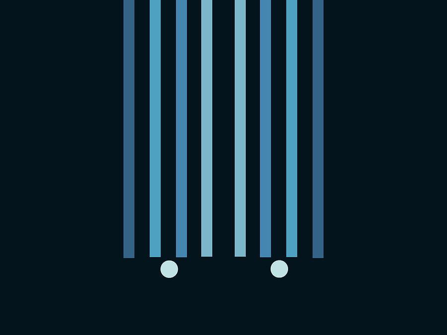 Minimal Geometric Arch Diptych 2 - Mid Century Modern - Parallel Lines  - Scandinavian - Blue Mixed Media
