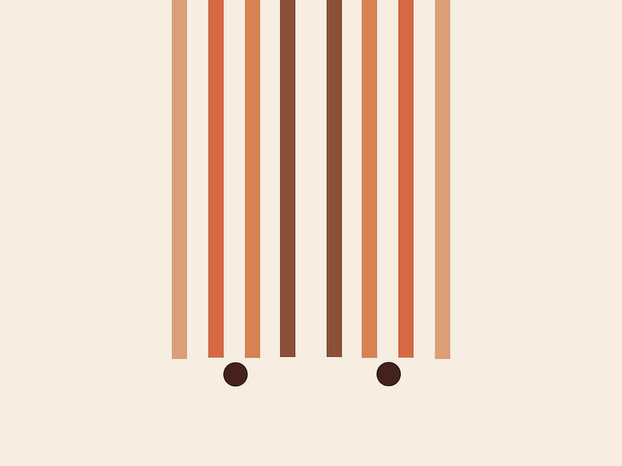 Minimal Geometric Arch Diptych 2 - Mid Century Modern - Parallel Lines  - Scandinavian - Brown Mixed Media