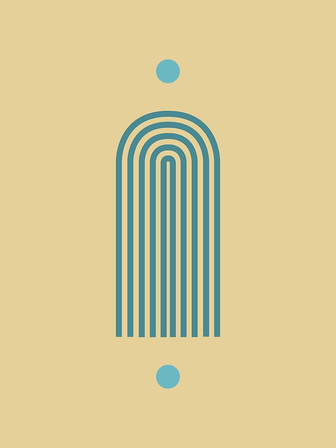 Minimal Geometric Arch Print - Mid Century Modern - Half Circle Arch - Scandinavian - Blue, Wheat Mixed Media