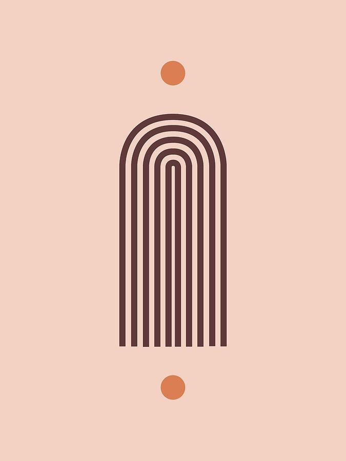 Minimal Geometric Arch Print - Mid Century Modern - Half Circle Arch - Scandinavian Decor - Brown Mixed Media