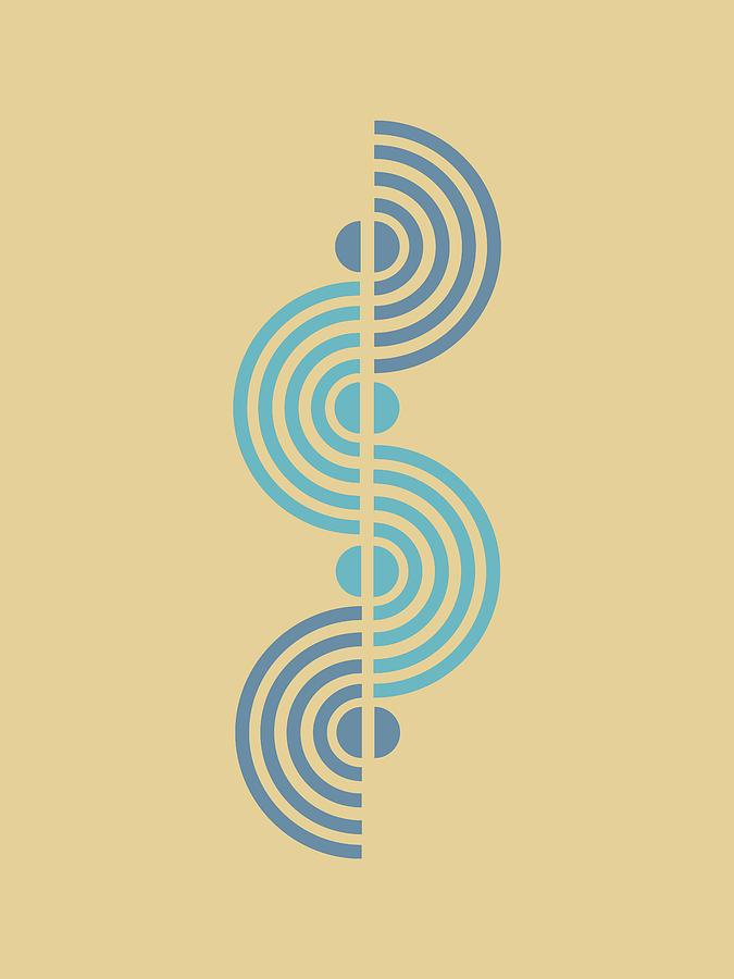 Minimal Geometric Half Circles Print - Mid Century Modern - Scandinavian - Blue, Wheat - Semi Circle Mixed Media