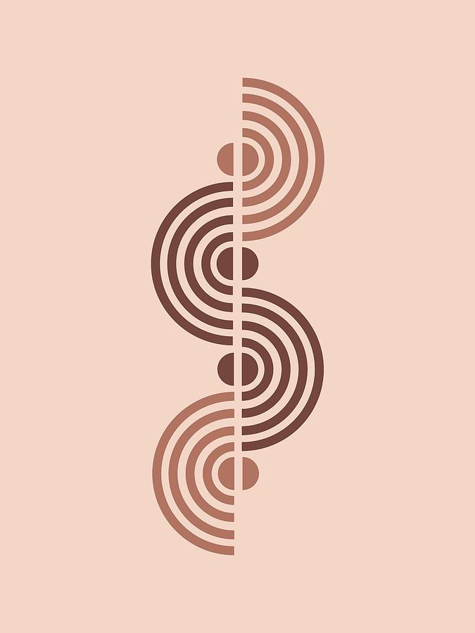 Minimal Geometric Half Circles Print - Mid Century Modern - Scandinavian Decor - Brown - Semi Circle Mixed Media