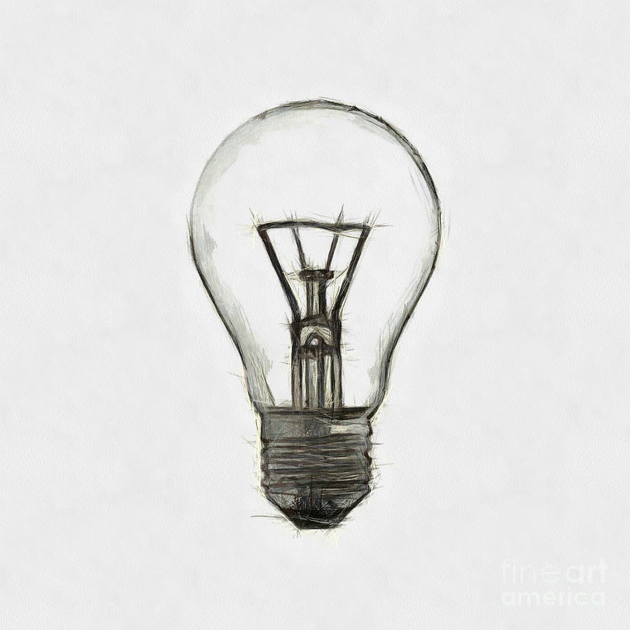Minimal Light Bulb Black And White Art Drawing