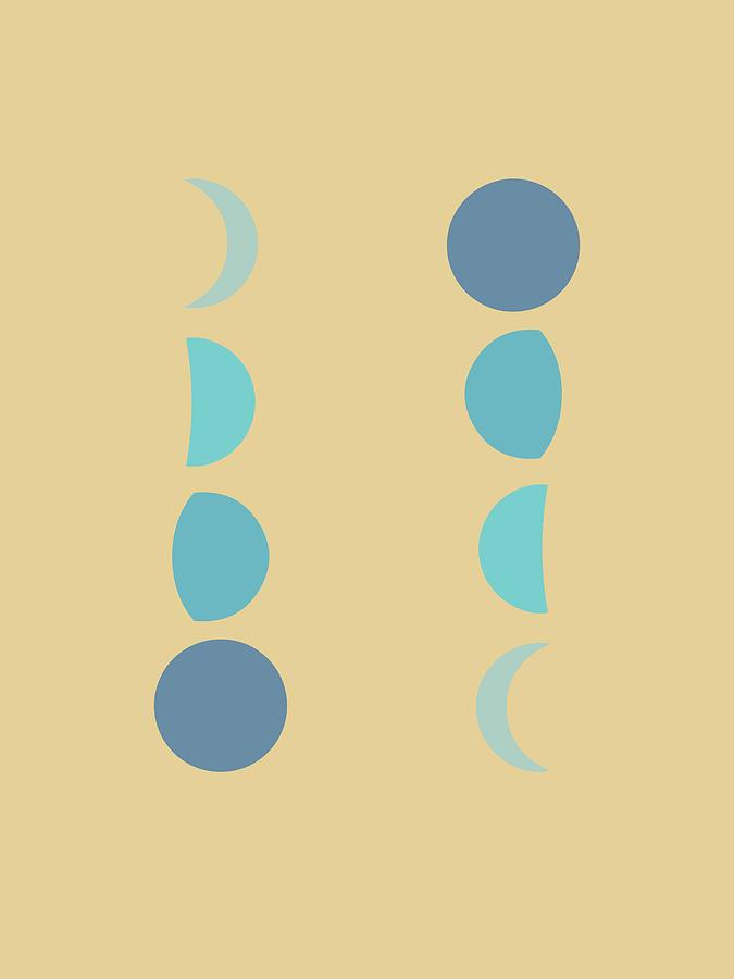 Minimal Moon Phases 2 - Lunar Cycle Print - La Luna - Mid-century Modern, Scandinavian Abstract Mixed Media