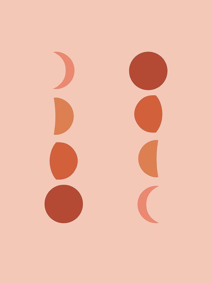 Minimal Moon Phases - Lunar Cycle Print - La Luna - Mid-century Modern, Scandinavian Abstract Mixed Media