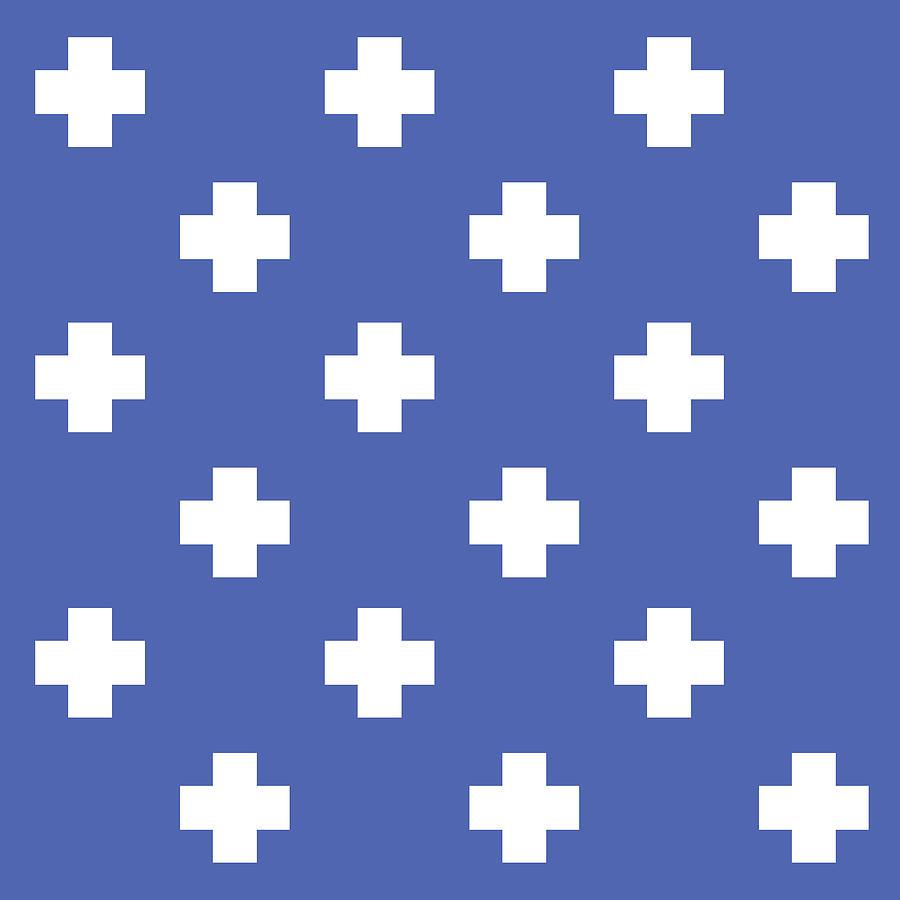 Minimalist Swiss Cross Pattern - Blue, White 02 Photograph