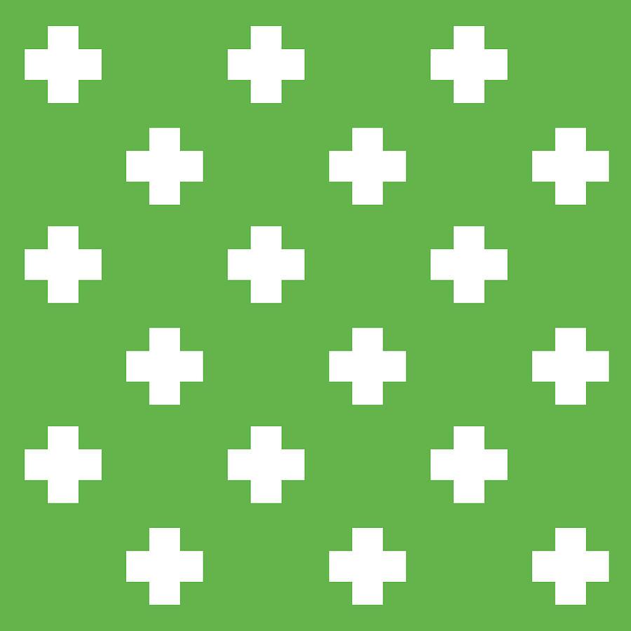 Minimalist Swiss Cross Pattern - Green, White 02 Photograph