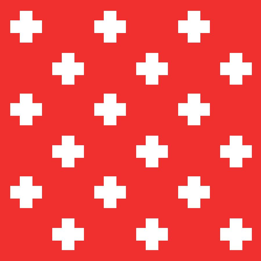 Minimalist Swiss Cross Pattern - Red, White 02 Mixed Media