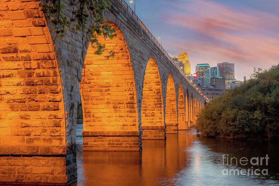 Minnesota Photograph - Minneapolis Skyline and the Stone Arch Bridge  by Habashy Photography