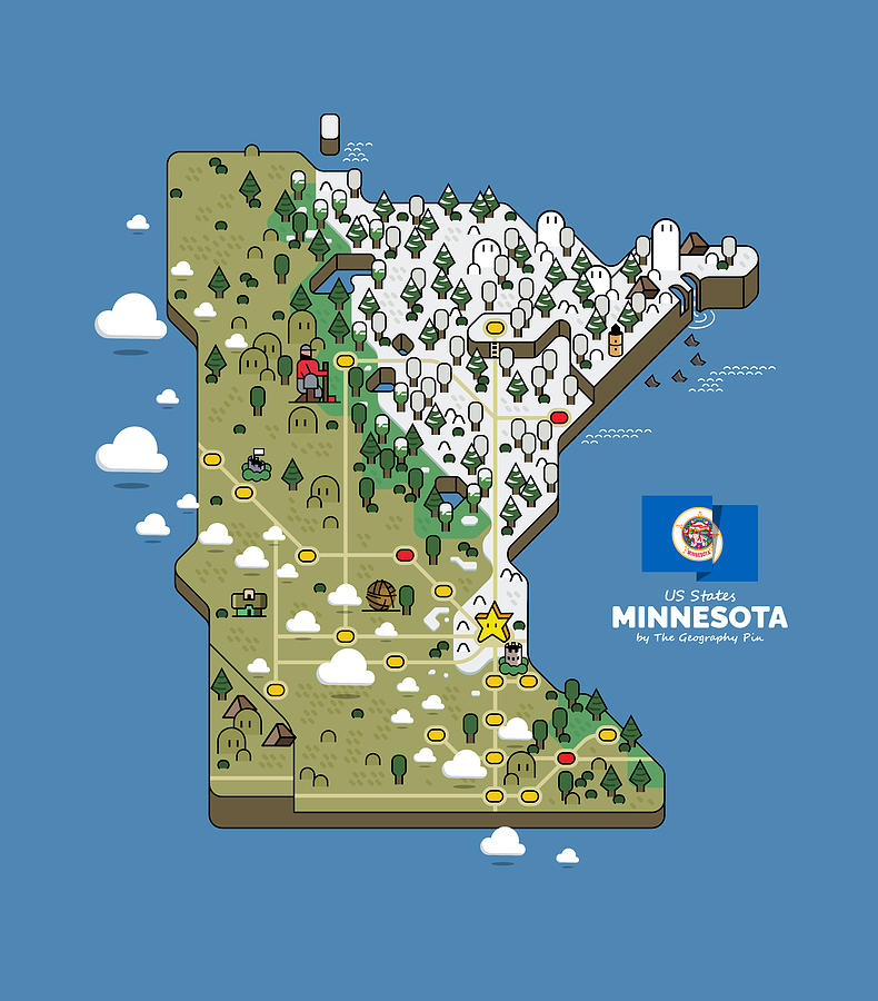 Geography Digital Art - Minnesota Map by The Geography Pin
