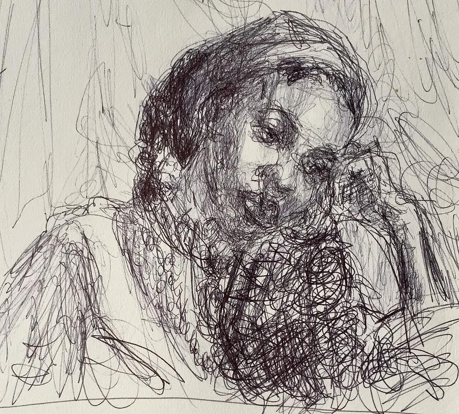 Mirabelle, Original Impressionist Drawing by Quin Sweetman