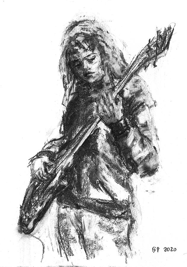 Bass Drawing - Miss Ibanez 1 by Barbara Pommerenke