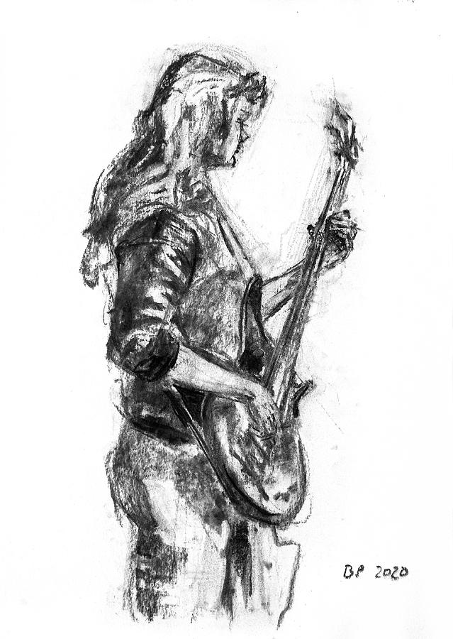 Bass Drawing - Miss Ibanez 2 by Barbara Pommerenke