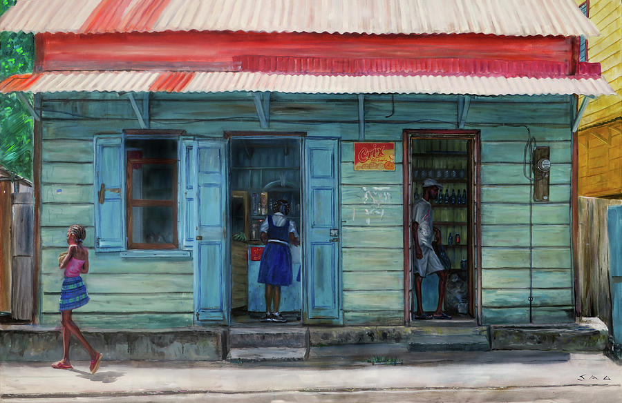Caribbean Painting - Miss Noras Shop 2 by Jonathan Gladding