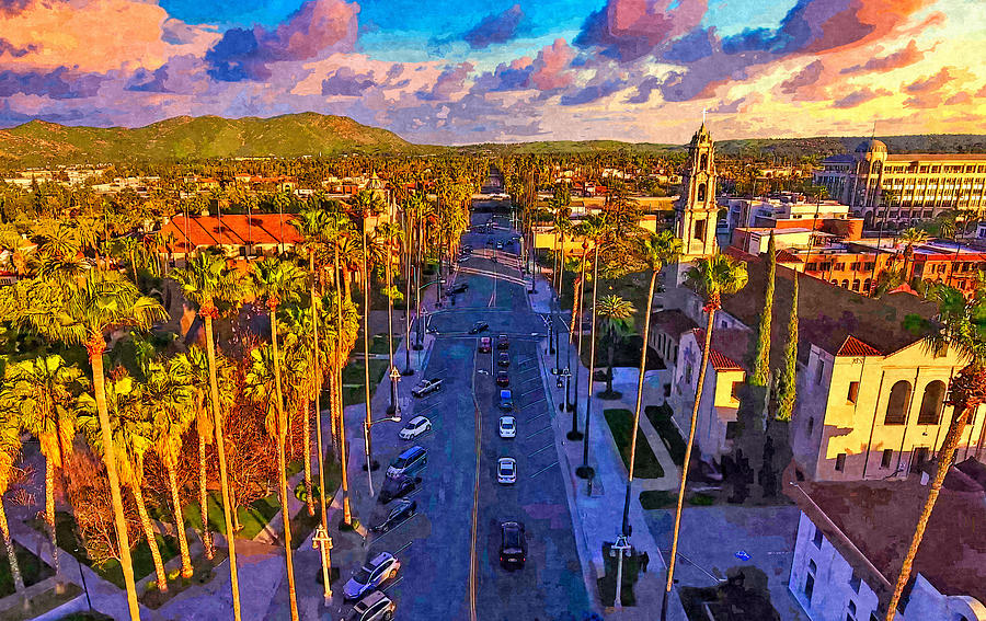 Riverside Digital Art - Mission Inn Avenue in downtown Riverside, California - digital painting by Watch And Relax