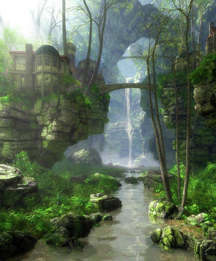 Fantasy Digital Art - Mist Valley by Cynthia Decker