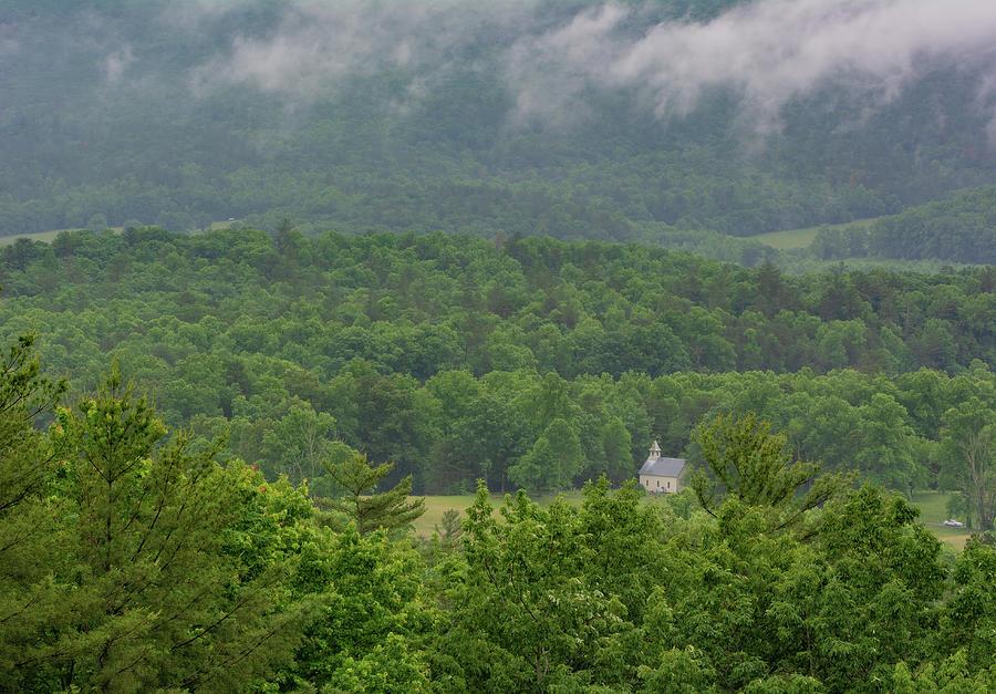 Misty Day On Rich Mountain Road by Douglas Wielfaert