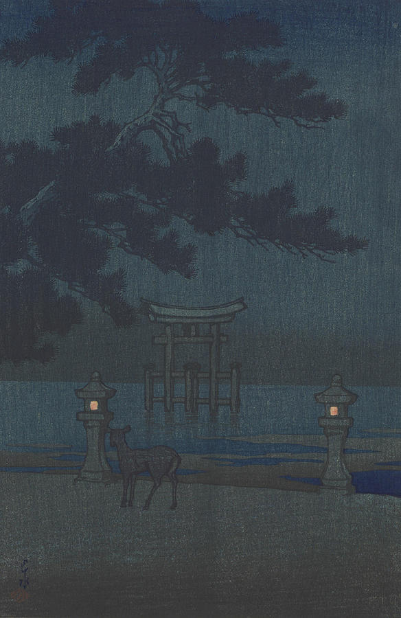 Misty Night Miyajima from the series Souvenirs of Travels Second Collection  Painting by Artist Kawase Hasui Publisher S Watanabe Color Print Co
