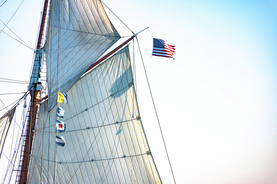Mizzen Spanker And Stars And Stripes Photograph
