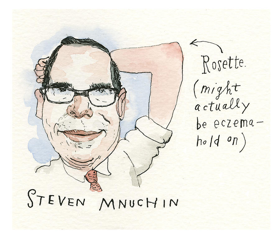 Mnuchin Rosette Painting by Barry Blitt