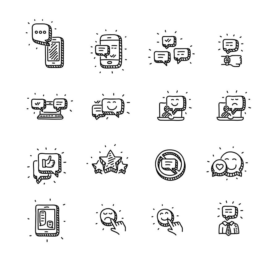 Mobile messages icons set Drawing by Pseudodaemon