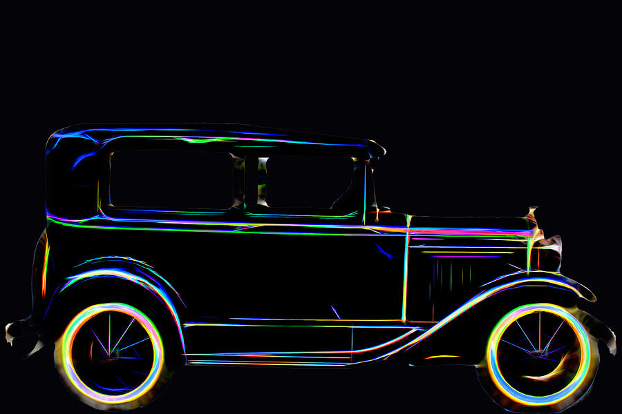 Model A Ford Neon Lighted  by Cathy Anderson